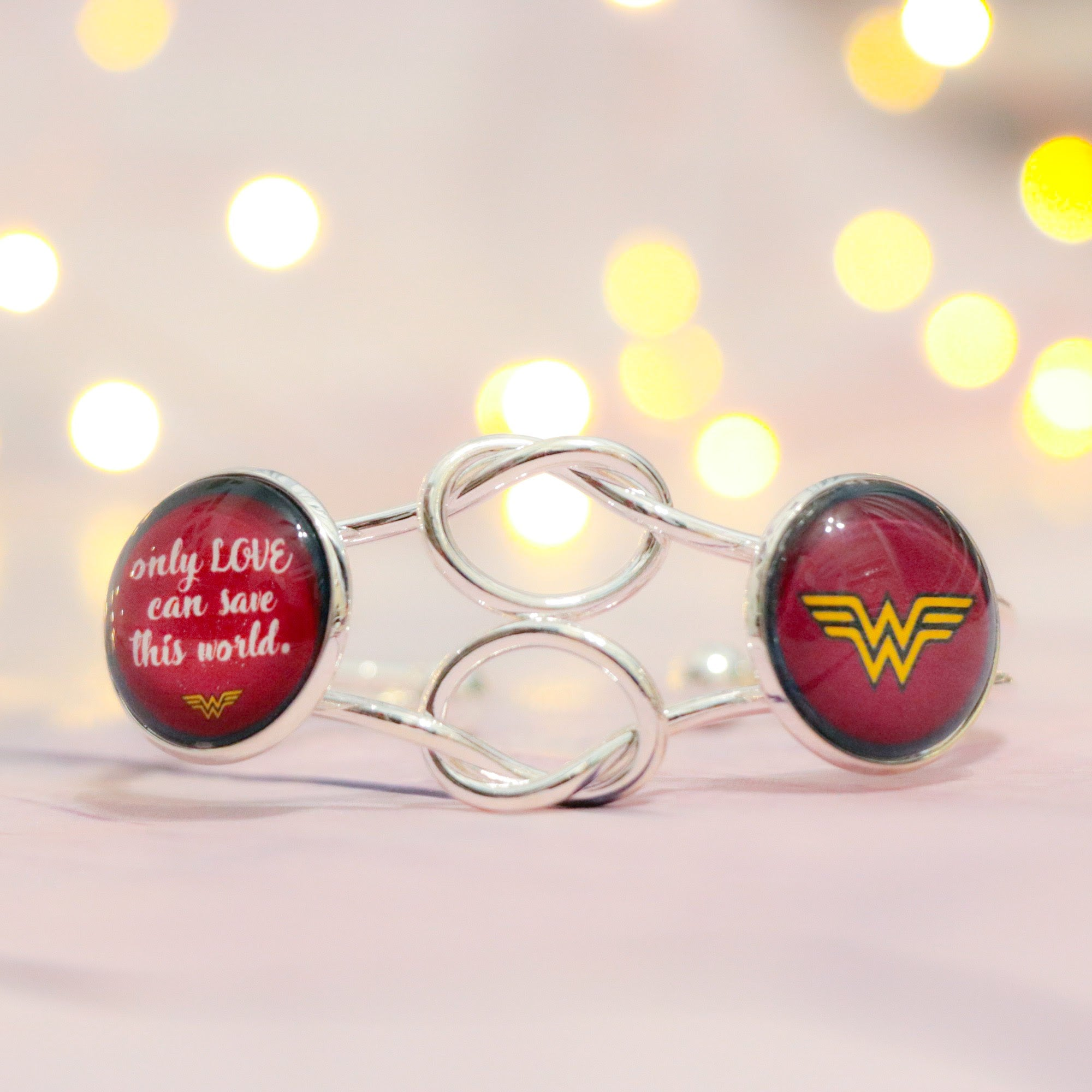 Wonder Woman Double Cabochon Adjustable Silver Bracelet