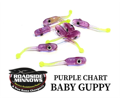 "ROADSIDE MINNOWS 1.15"" BABY GUPPY PURPLE CHART. TAIL Roadside Minnows 1.15"" Baby Guppy"