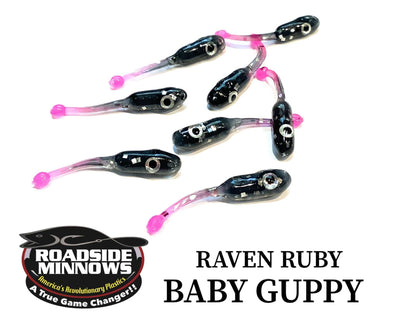 "ROADSIDE MINNOWS 1.15"" BABY GUPPY RAVEN RUBY Roadside Minnows 1.15"" Baby Guppy"