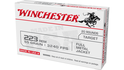 WINCHESTER 222 REM Winchester USA Ammo, 223 Rem., 55gr FMJ - 20 Rounds