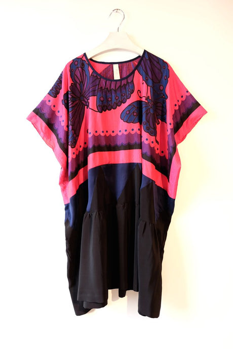 Magenta and black caftan dress made using a vintage butterfly print scarf.  One-of-a-kind sustainable fashion.