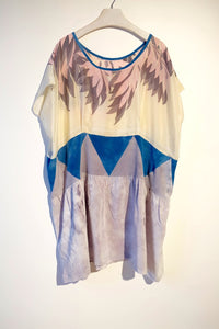 Hand dyed patchwork silk dress made using a vintage printed scarf.  One-of-a-kind sustainable fashion.