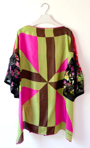 Green and pink printed silk top made from vintage silk scarves.  One-of-a-kind sustainable fashion.