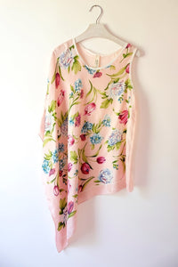 Asymmertic pink printed top made from vintage silk scarves.  One-of-a-kind sustainable fashion