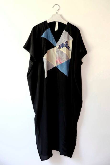 black patchwork caftan dress made from pieces of vintage scarves.  One-of-a-kind sustainable fashion