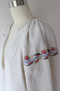 Vintage Ukrainian heavy linen dress with hand embroidery