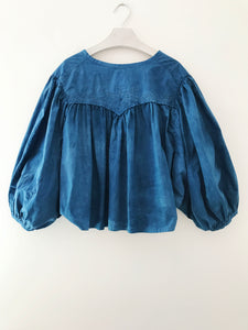 One-of-kind blouse made from an antique Edwardian nightgown and hand dyed in indigo.