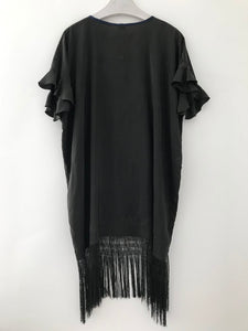 Hand made tunic dress made from a vintage black embroidered piano shawl with fringe.  Sustainable one-of-a-kind fashion.