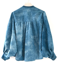 Penrose Design Studio hand dyed indigo cotton blouse made from an antique Edwardian crochet nightgown