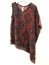 Asymmetrical top made from vintage silk printed scarves.  One-of-a-kind sustainable fashion.