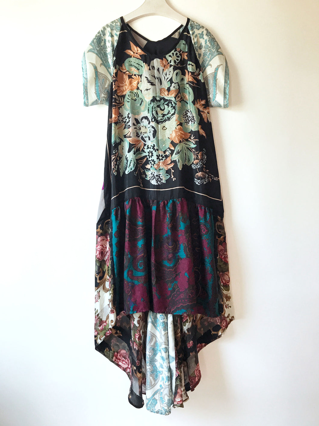 One-of-a-kind sustainable fashion.  Printed patchwork maxi dress made from vintage silk scarves.