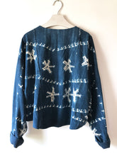 Sweatshirt made from a vintage African indigo mud cloth, one-of-a-kind sustainable fashion.
