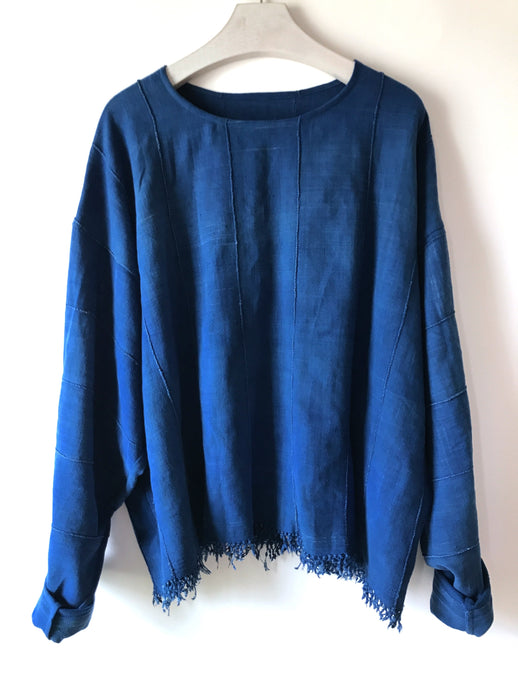 Sweatshirt made from a vintage hand woven African indigo cloth.  Sustainable one-of-a-kind fashion,