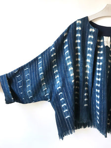 Jacket made from a vintage hand woven metallic stripe African indigo mud cloth.  One-of-a-kind sustainable fashion.