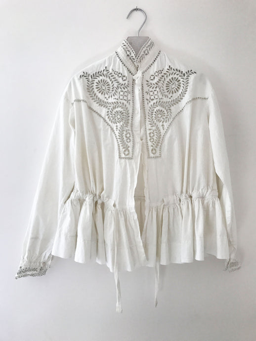 White cotton blouse made from an antique Victorian nightgown with hand embroidery.  Sustainable one-of-a-kind fashion.