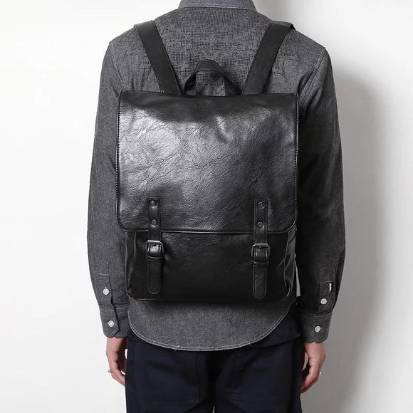 Unisex Black Faux Leather Backpack 1018