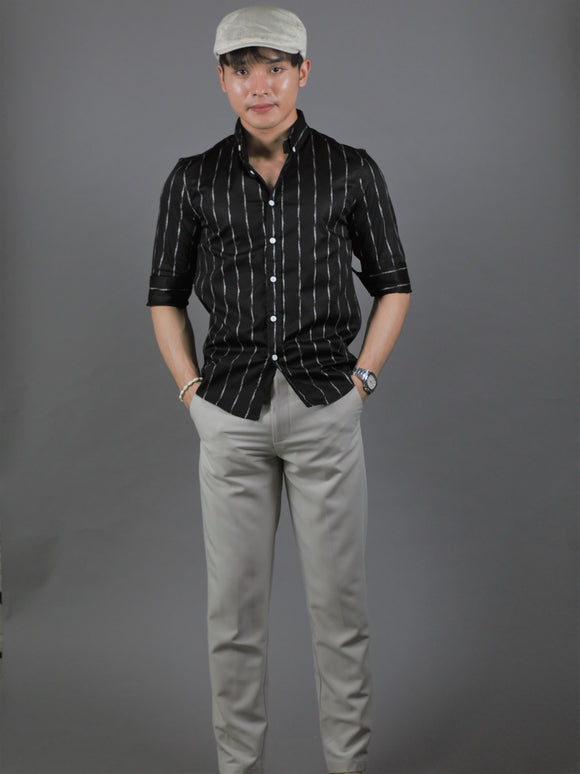 3/4 Sleeve Pattern Shirt (Black) 1339