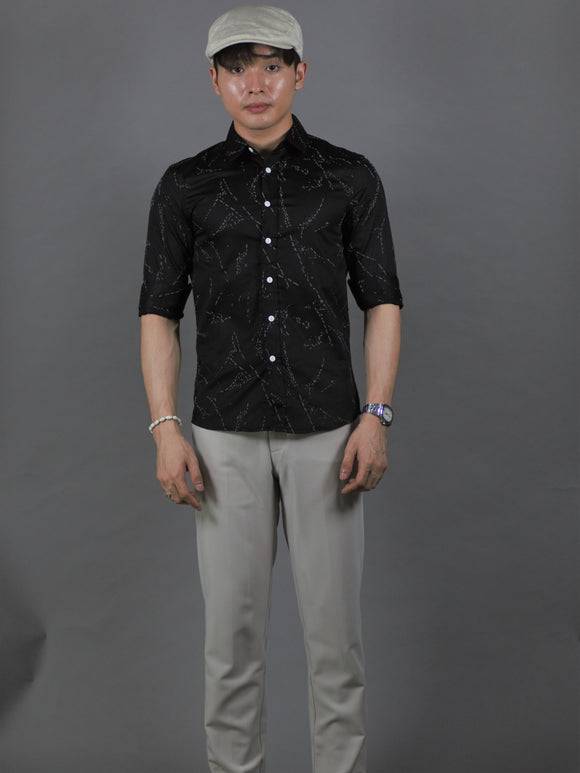 3/4 Sleeve Pattern Shirt (Black) 1347