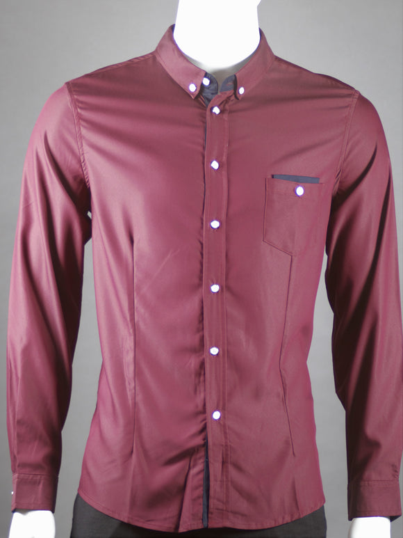 Long Sleeve Shirt (Burgundy) 1507