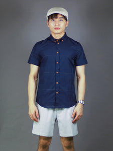 Short Sleeve Checkered Shirt (Navy) 1577