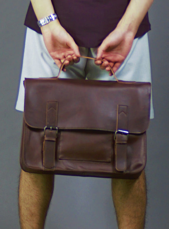 Dark Brown Messenger bag with handle 6615