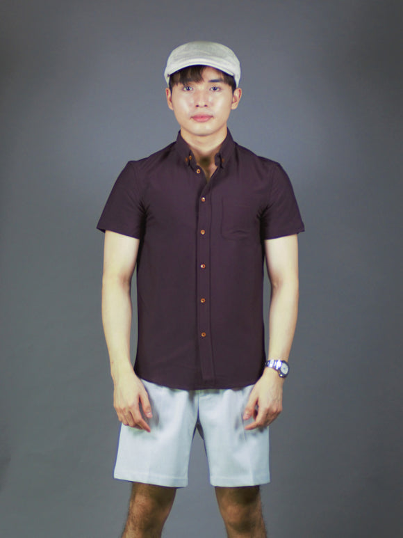 Short Sleeve Plain Shirt (Brown) 1581