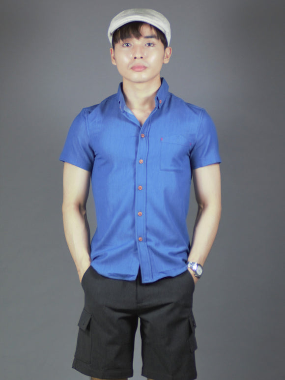 Short Sleeve Plain Shirt (Navy) 1582