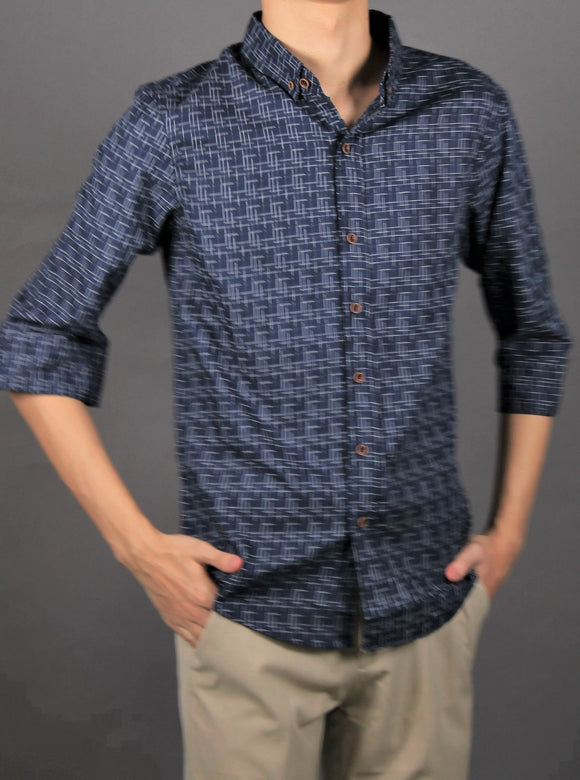 3/4 Sleeve small checkered designs (NAVY) 1590