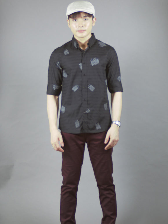 3/4 Sleeve Pattern Shirt (Black) 1622