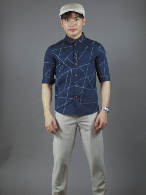 3/4 Sleeve printed Shirt (navy) 1631
