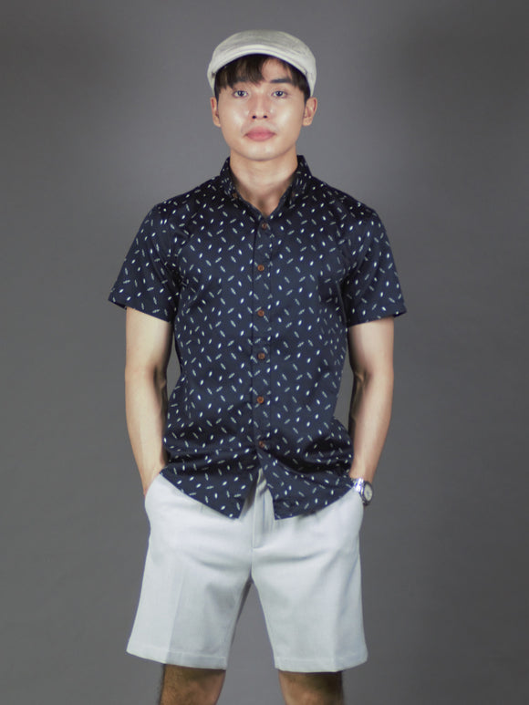 Short Sleeve Printed Shirt (Navy) 1760