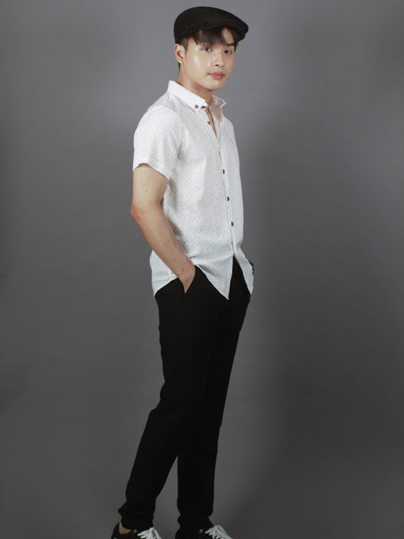 Short Sleeve Pattern Shirt (White) 1647