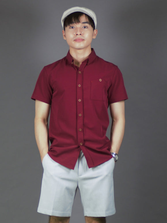 Short Sleeve Plain Shirt (Burgundy) 1649