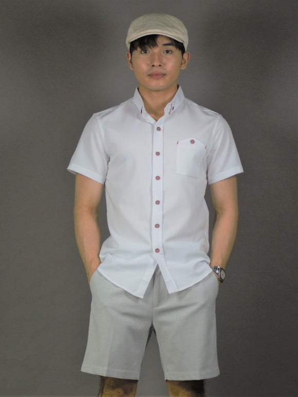 Short Sleeve Plain Shirt (White) 1649