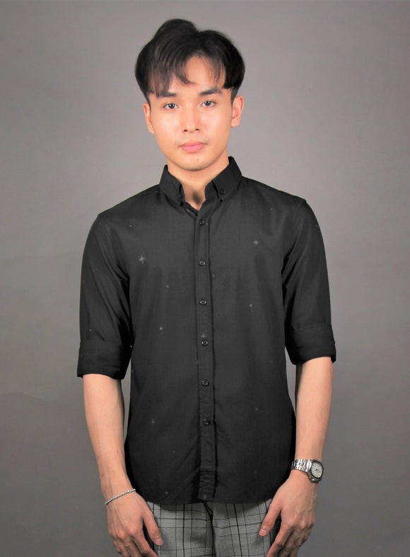 3/4 Sleeve Simple Prints Shirt (Black) 1663