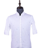 Patterned 3/4 Sleeve Shirt (White) 1666