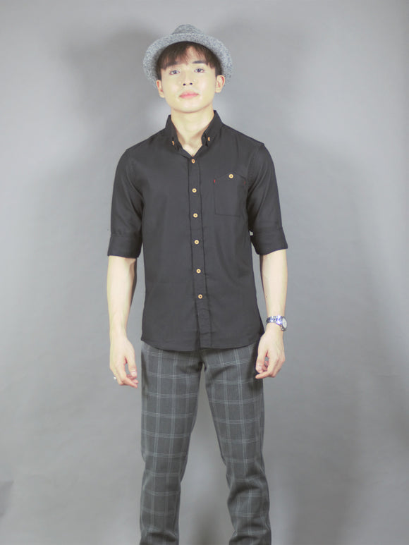 3/4 Plain Shirt (black) 1668