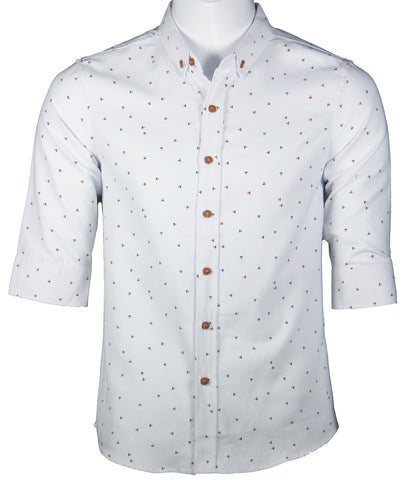 3/4 Sleeve Pattern Shirt (White) 1669