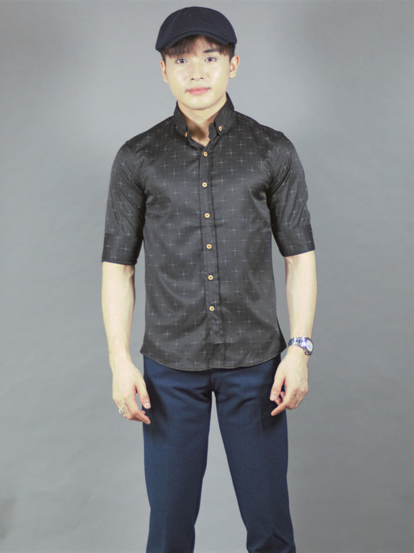 3/4 Sleeve Pattern Shirt (black) 1672