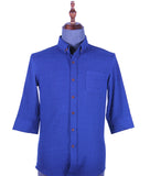 3/4 Sleeve Button Down With Patterning Shirt (Blue) 1675