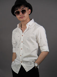 3/4 Sleeve Pattern Shirt (White) 1681