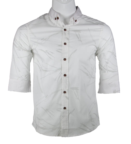 3/4 Sleeve Watermark Printed Shirt (White) 1691