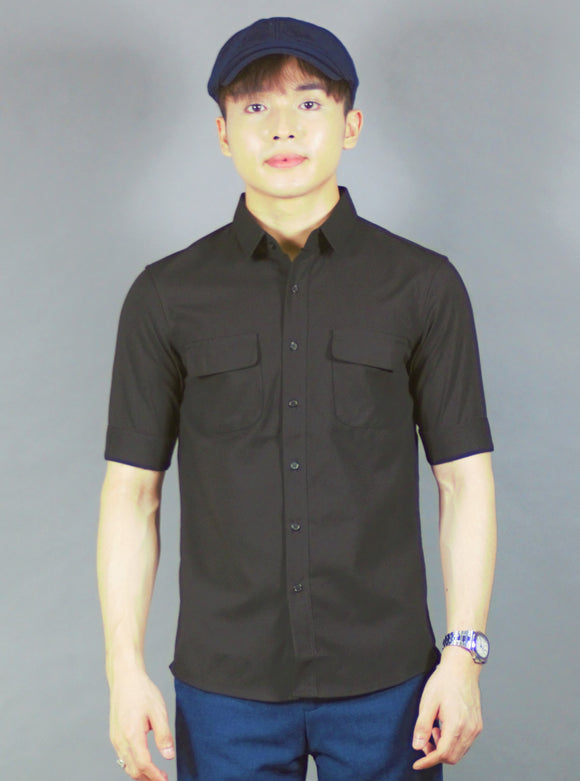 3/4 Plain Shirt (black) 1692