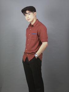 3/4 Sleeve Plain Simple Shirt (BURGUNDY) 1694
