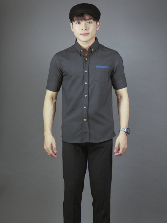 3/4 Sleeve Plain Shirt with Pocket (Charcoal) 1698