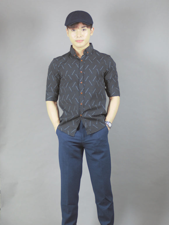 3/4 printed Shirt (black) 1699