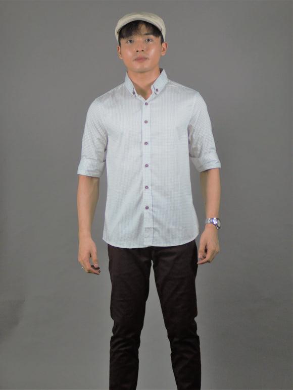 3/4 printed Shirt (white) 1701