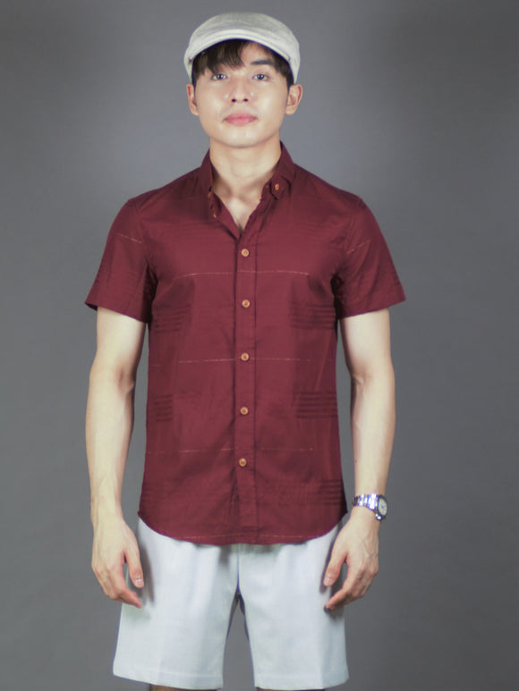 Short Sleeve Checkered Shirt (Burgundy) 1577