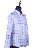 Long Sleeve Checkered Shirt (White) 1712