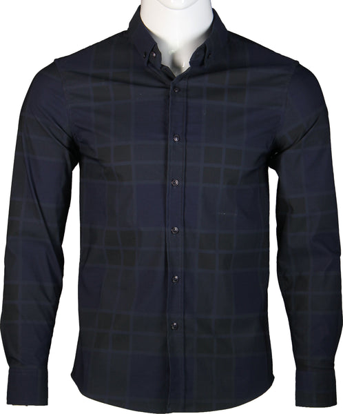 Long Sleeve Checkered Shirt (Navy) 1714